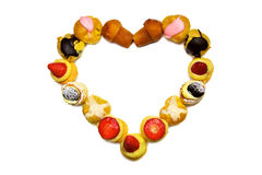 Coração do dia do Valentim feito da pastelaria Foto de Stock