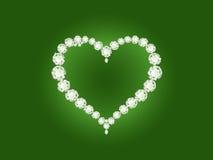Coração do diamante do vetor no fundo verde Fotografia de Stock