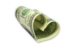 Coração do dinheiro Fotografia de Stock Royalty Free