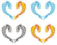 Coração do dragão. Fogo, água, cinzas ilustração stock