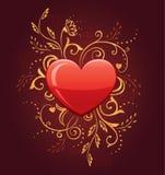 Coração do encanto com ornamentado floral Fotos de Stock Royalty Free