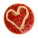 Coração do espaguete Fotos de Stock Royalty Free