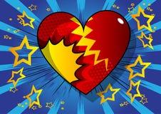 Coração do estilo da banda desenhada, símbolo abstrato do amor ilustração stock