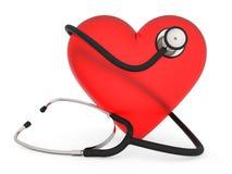 Coração do exame médico no branco Fotografia de Stock Royalty Free