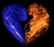 Coração do fumo e do incêndio Fotos de Stock