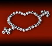 Coração do futebol Fotos de Stock Royalty Free