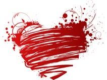 Coração do Grunge com elementos florais Fotos de Stock Royalty Free