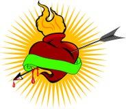 Coração do incêndio e seta da paixão ilustração do vetor
