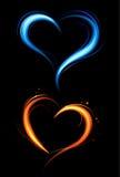 Coração do incêndio vermelho e azul ilustração royalty free