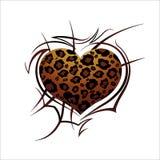 Coração do leopardo em um fundo branco Imagens de Stock Royalty Free