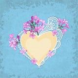 Coração do lilás & do laço Imagens de Stock
