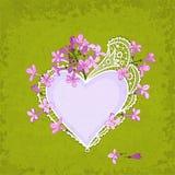 Coração do lilás & do laço Imagens de Stock Royalty Free