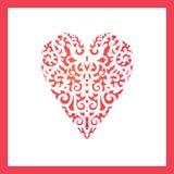 Coração do molde com as flores para o corte do laser, cartão que scrapbooking Imagem de Stock Royalty Free