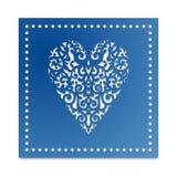 Coração do molde com as flores para o corte do laser, cartão que scrapbooking Fotos de Stock Royalty Free