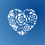 Coração do molde com as rosas para o corte do laser Imagem de Stock Royalty Free