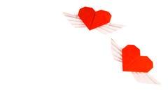 Coração do origâmi com asas Dois corações Fotos de Stock