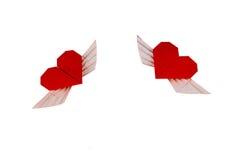Coração do origâmi com asas Dois corações Imagens de Stock