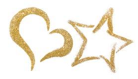 Coração do ouro e estrela de sparkles brilhantes do ouro Coração brilhante da estrela isolado no branco Imagens de Stock