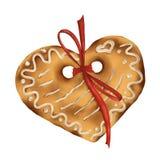 Coração do pão-de-espécie com uma curva da fita, em um fundo branco, isolado, Natal, ilustração ilustração royalty free