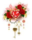 Coração do rubi com rosas vermelhas ilustração do vetor