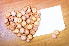 Coração do Shortbread com cartão vazio Imagens de Stock