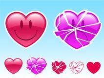 Coração do smiley e coração triste ilustração royalty free