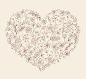 Coração do teste padrão de flor Fotografia de Stock