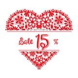 Coração do tracery do dia de Valentim, 15 por cento de discoun ilustração do vetor