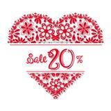 Coração do tracery do dia de Valentim, um desconto de 20 por cento ilustração royalty free