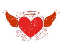 Coração do vôo/ilustração das asas Fotos de Stock Royalty Free