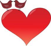 Coração do Valentim com beijo de pássaros Imagem de Stock Royalty Free