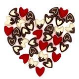 Coração do Valentim feito de muitos corações cor-de-rosa pequenos de veludo Imagens de Stock
