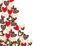Coração do Valentim feito de muitos corações cor-de-rosa pequenos de veludo Fotografia de Stock Royalty Free