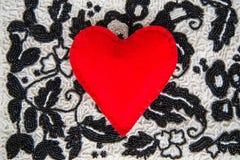 Coração do vermelho de matéria têxtil Imagens de Stock Royalty Free