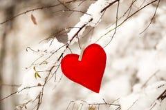 Coração do vermelho de matéria têxtil Imagem de Stock