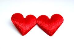 Coração do vermelho de veludo dois Fotos de Stock