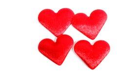 Coração do vermelho de veludo quatro Imagens de Stock Royalty Free