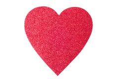 Coração do vermelho do dia de Valentim do brilho Foto de Stock Royalty Free
