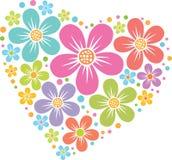 Coração do vetor das flores Fotos de Stock Royalty Free