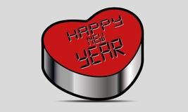 Coração do vetor do ano novo feliz Fotos de Stock Royalty Free