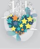 Coração do vetor feito das estrelas com nuvens e redemoinhos Imagens de Stock