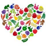 Coração do vetor feito das frutas e legumes ilustração stock
