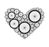 Coração do vetor feito das rodas da bicicleta Foto de Stock
