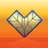 Coração do vidro colorido com contorno azul ilustração stock