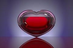 Coração do vidro, enchido com o sangue em um fundo escuro com reflexão Conceito: esperança, doação de sangue, vida, amor ilustração do vetor