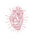Coração do vintage com texto escrito do sunburst e da mão - com você meus batimentos cardíacos mais rapidamente Valentine' r Imagens de Stock Royalty Free