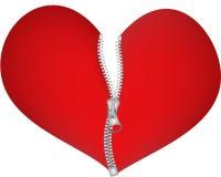 Coração do Zipper Fotos de Stock Royalty Free