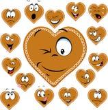 Coração doce com uns desenhos animados felizes da cara - vetor do pão-de-espécie Fotos de Stock Royalty Free