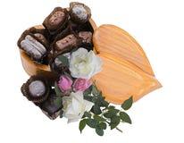 Coração, doces e rosas Foto de Stock Royalty Free