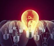 Coração dois ardente na lâmpada elétrica Foto de Stock